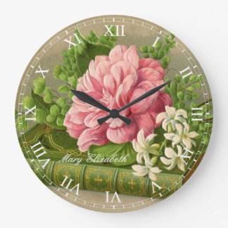 Números romanos del vintage del rosa de la impresi reloj redondo grande