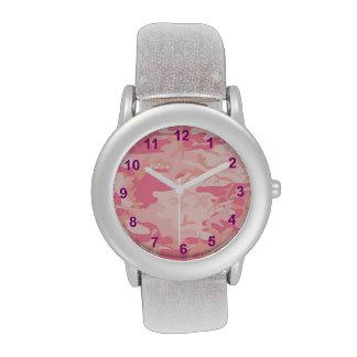 números rosados de la púrpura del camuflaje reloj de mano