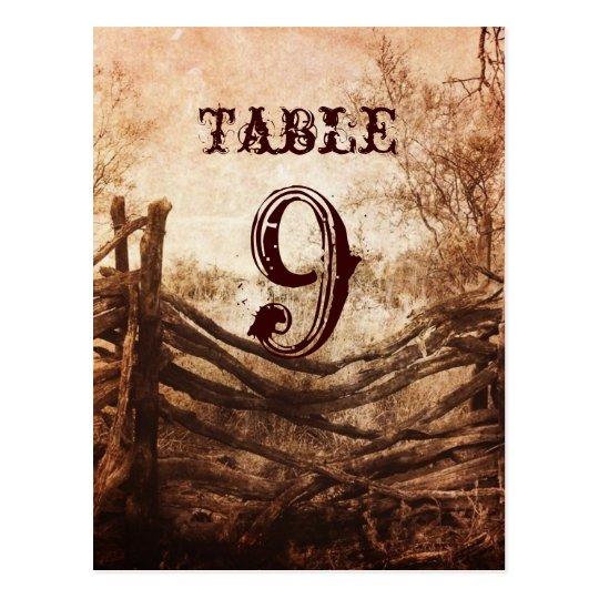 números rústicos de la tabla del boda de la granja postales