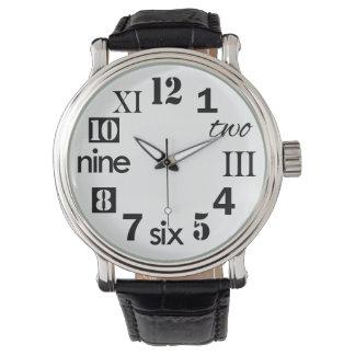 Números tipográficos de la diversión relojes de pulsera