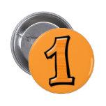 Números tontos 1 botón anaranjado pin