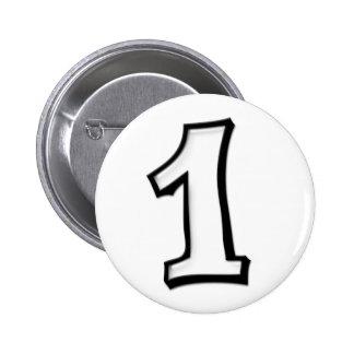 Números tontos 1 botón blanco pin redondo de 2 pulgadas