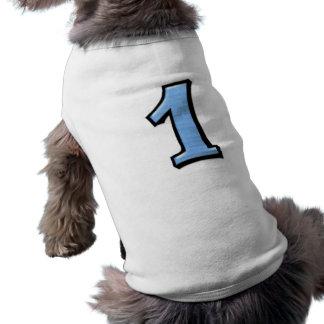 Números tontos 1 camiseta azul del perro playera sin mangas para perro