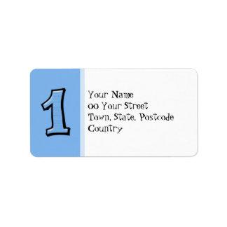 Números tontos 1 etiqueta de dirección azul