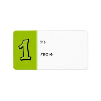 Números tontos 1 etiqueta verde de la etiqueta del etiquetas de dirección