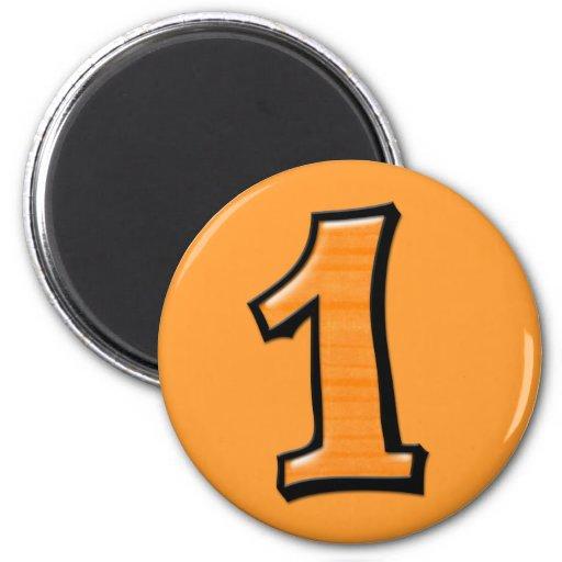 Números tontos 1 imán anaranjado