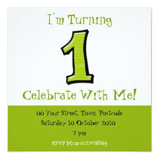 Números tontos 1 invitación verde del cumpleaños