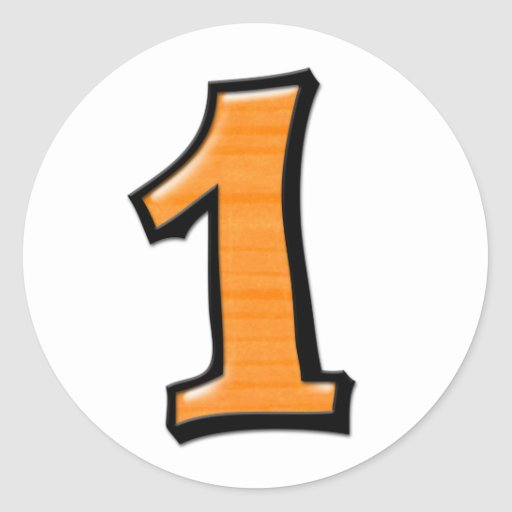 Números tontos 1 pegatina anaranjado