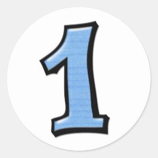Números tontos 1 pegatina azul