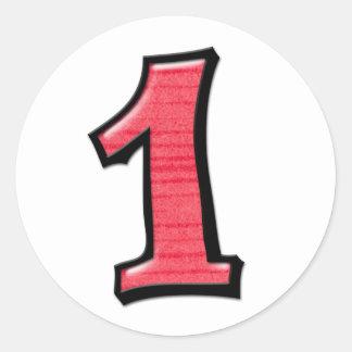 Números tontos 1 pegatina rojo