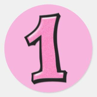 Números tontos 1 pegatina rosado