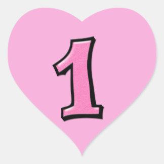Números tontos 1 pegatina rosado del corazón