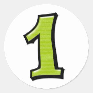 Números tontos 1 pegatina verde