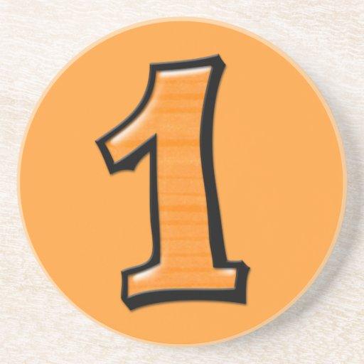 Números tontos 1 práctico de costa anaranjado posavaso para bebida