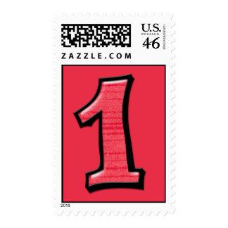 Números tontos 1 sello rojo