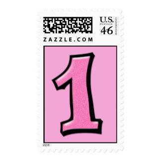 Números tontos 1 sello rosado