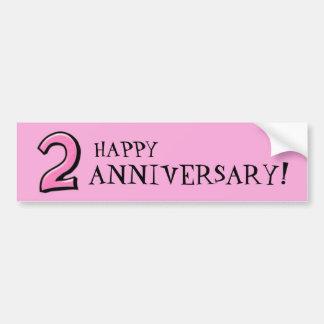 Números tontos 2 pegatinas rosados del aniversario etiqueta de parachoque