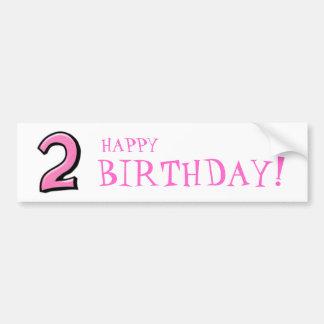 Números tontos 2 pegatinas rosados del cumpleaños etiqueta de parachoque