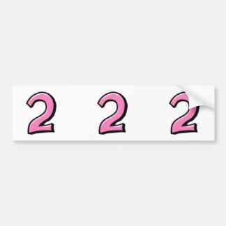 Números tontos 2 pegatinas rosados del recorte pegatina de parachoque