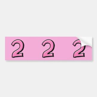 Números tontos 2 pegatinas rosados del recorte etiqueta de parachoque