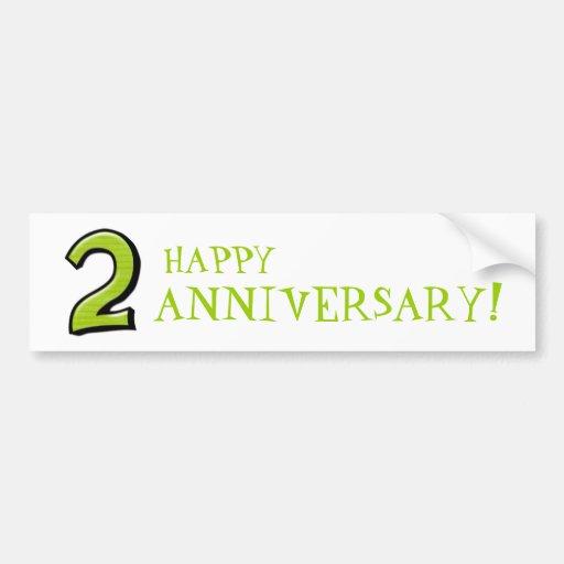 Números tontos 2 pegatinas verdes del aniversario pegatina de parachoque