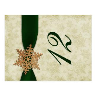 números verdes de la tabla del boda del invierno tarjetas postales