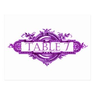 Números violetas de la tabla de la recepción nupci tarjeta postal