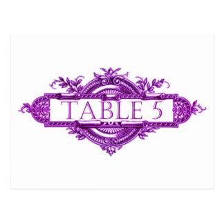 Números violetas de la tabla de la recepción nupci tarjetas postales