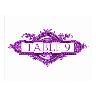 Números violetas de la tabla de la recepción nupci postales