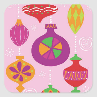 Numerous Christmas decoration illustrated in diffe Square Sticker