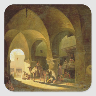 Numerous Figures in a North African Bazaar, 1839 ( Square Sticker