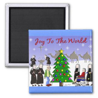 Nun Art Christmas Scene Gifts Magnet