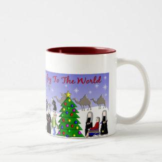 Nun Art Christmas Scene Gifts Two-Tone Coffee Mug