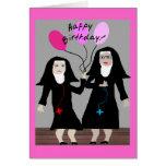 """Nun Birthday Gifts """"Happy Birthday Sister"""" Card"""