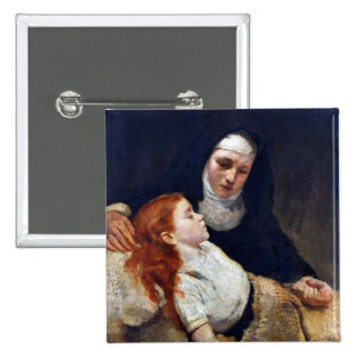 Nun caring for a sick child button