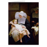 Nun caring for a sick child greeting card
