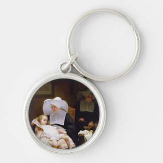 Nun caring for a sick child keychain