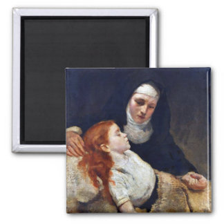 Nun caring for a sick child magnet