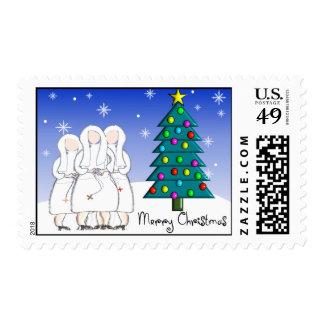 """Nun Christmas Postage Stamps """"Merry Christmas"""""""