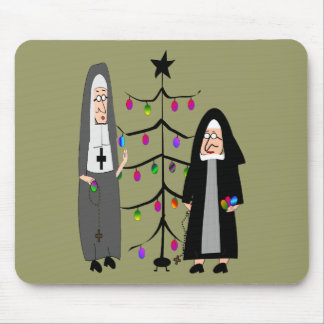 Nun Gifts Decorating The Christmas Tree Mousepads