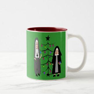 """Nun Gifts """"Decorating The Christmas Tree"""" Two-Tone Coffee Mug"""