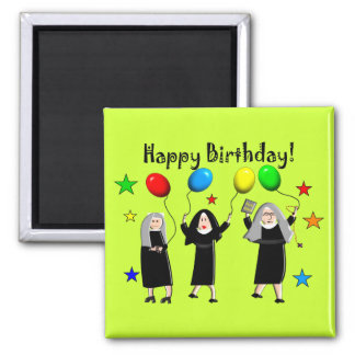 Nun Happy Birthday Cards & Gifts 2 Inch Square Magnet