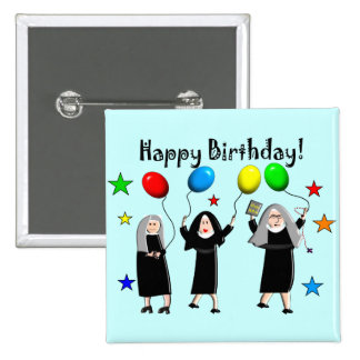 Nun Happy Birthday Cards & Gifts Pinback Buttons