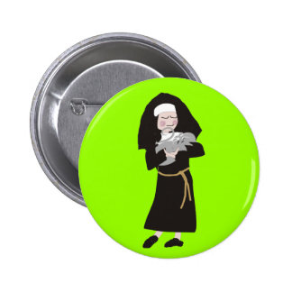 Nun Holding Grey Cat Gifts Button