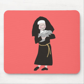 Nun Holding Grey Cat Gifts Mouse Pad