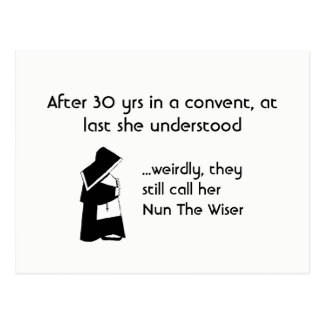 Nun joke - clean humor, Catholic Fun Postcard