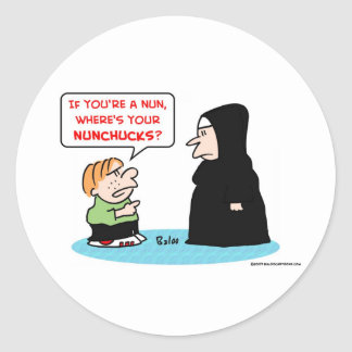 nun nunchucks classic round sticker