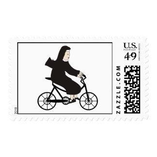 Nun on a Bike Postage Stamps
