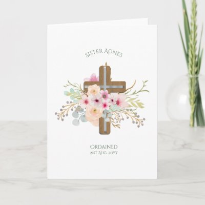 NUN - Ordination or Anniversary - Floral Cross Card