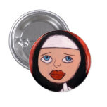 nun with big red lips button